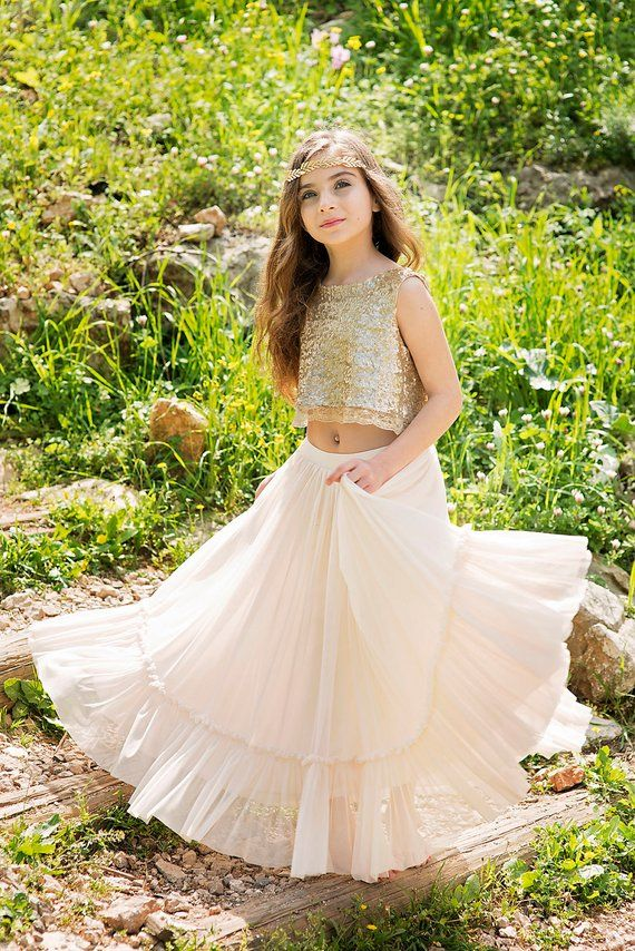 Gold Boho-chic Flower Girl Dress, Junior Bridesmaid Dress, Boho champagne skirt and gold top set, boho flower girl dress, Bohemian Wedding