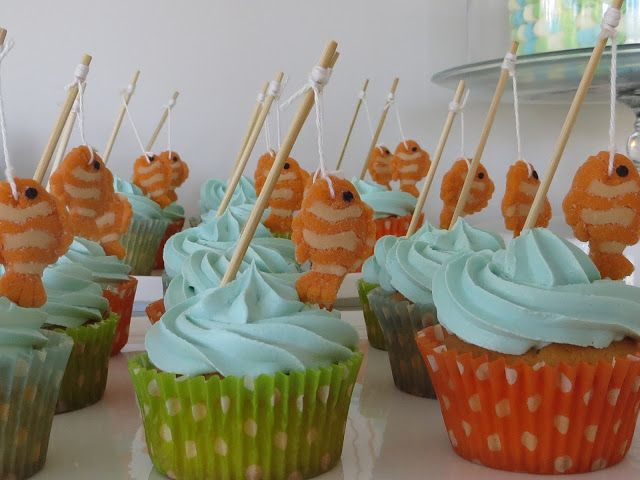 baby shower cupcakes fishing theme