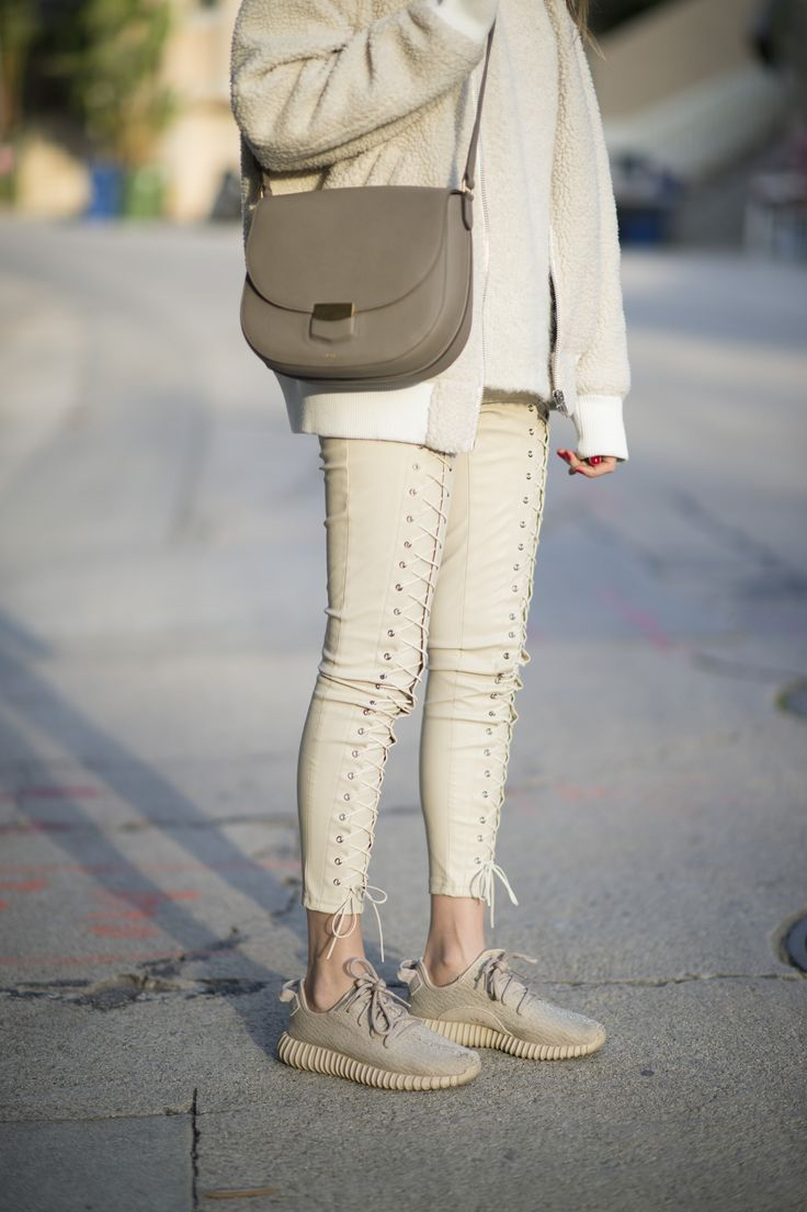 Street Style: Athletic Sneaker Trend - Yeezy's. So chic to tonally match your outfit to your sneakers. @stylecaster