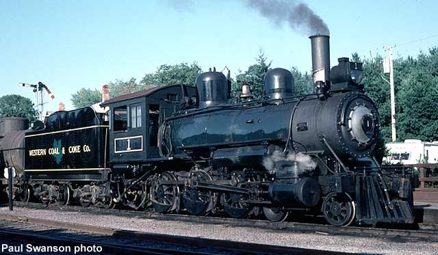 WC&C #1 was a 4-6-0 built by the Montreal Locomotive Co. in Canada, in 1913, for coal hauling service at Beaver Mines, Alberta. WC&C later became Royalties Oil & Share Corp., and eventually merged with Lethbridge Collieries, Ltd., in 1935. The locomotive was last used in 1964 at Plyami, Alberta. It was purchased by a group of museum members and moved to North Freedom on two flatcars, arriving at the museum on October 30, 1965.