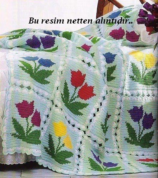 tığ işi lale desenli battaniye