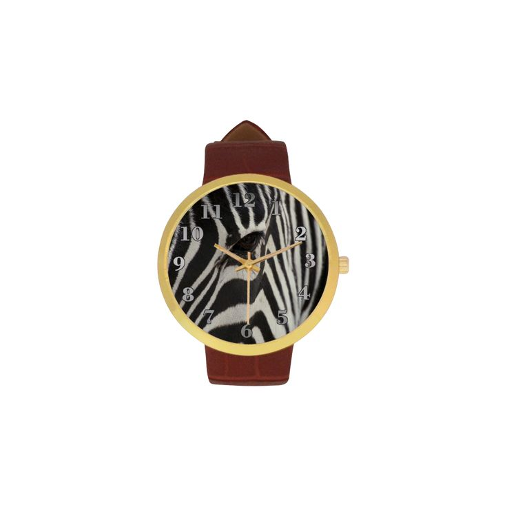 Zebra Women's Golden Leather Strap Watch. FREE Shipping. #artsadd #watches #zebra