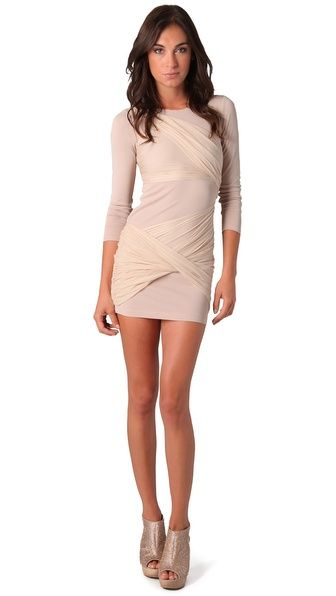 alice + olivia Long Sleeve Goddess Dress. Love the silk-chiffon ruching detail. Nude going out dress