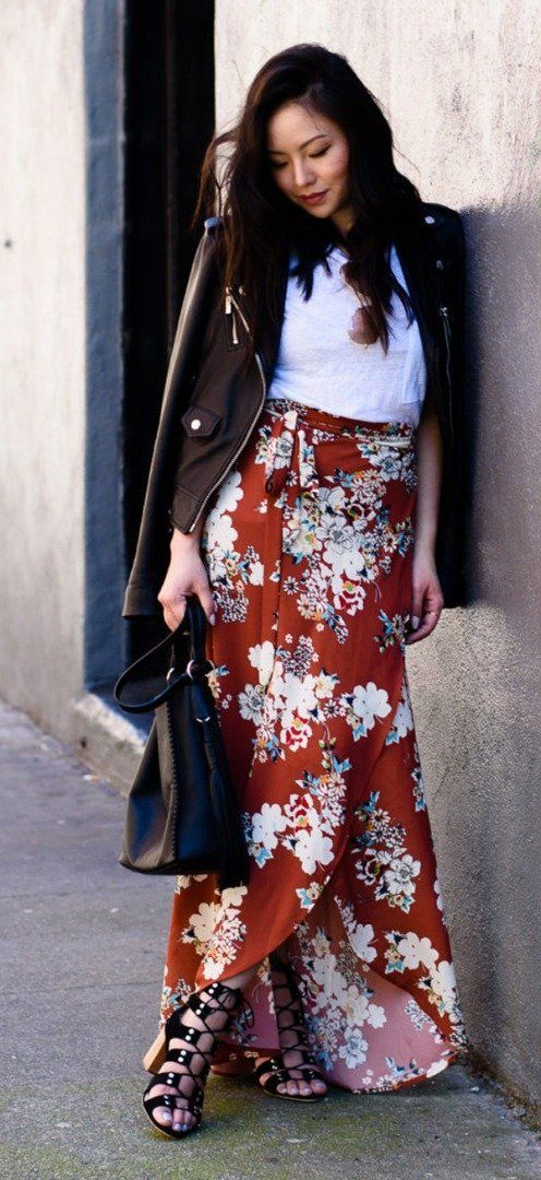 Floral maxi skirt + leather jacket + basic top