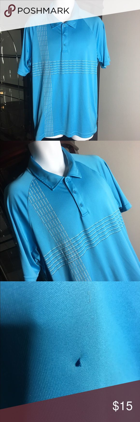 Men's blue under armour golf shirt You are purchasing a men's Light Blue under armour golf shirt , has a small hole in front SEE pics, no other flaws other than that it is a XL fits true to size      Our #1 Goal is customer satisfaction. We love to treat our customers with the best service. Feel free to ask any questions if you have any   GO CHECK OUT OUR OTHER NAME BRAND ITEMS   FEEDBACK: we strive to earn positive 5 star feedback for all items. Under Armour Shirts Polos