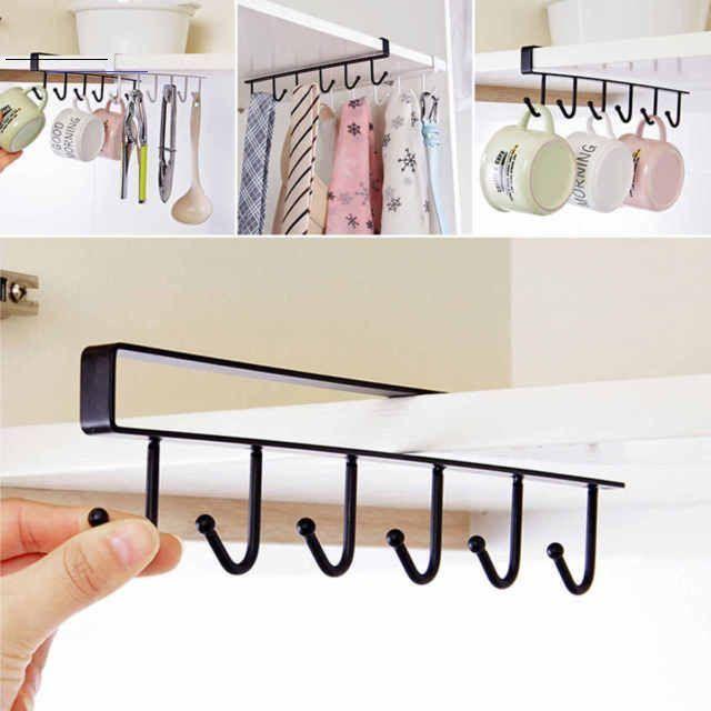 6 Hooks Cup Holder Hang Kitchen Cabinet Under Shelf Storage Rack