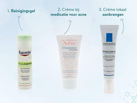 Drie producten die je kunt gebruiken bij acne: 1) Eucerin reiniger 2) Avène Cleanance HYDRA 3) La Roche-Possay Effaclar