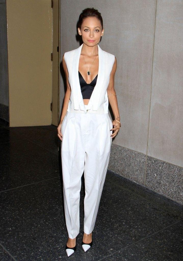 Nicole Richie's  Today Show J Brand Spring 2013 White Vest, Pants, Alexander Wang Satin Bra Top, and Saint Laurent Cap Toe Pumps