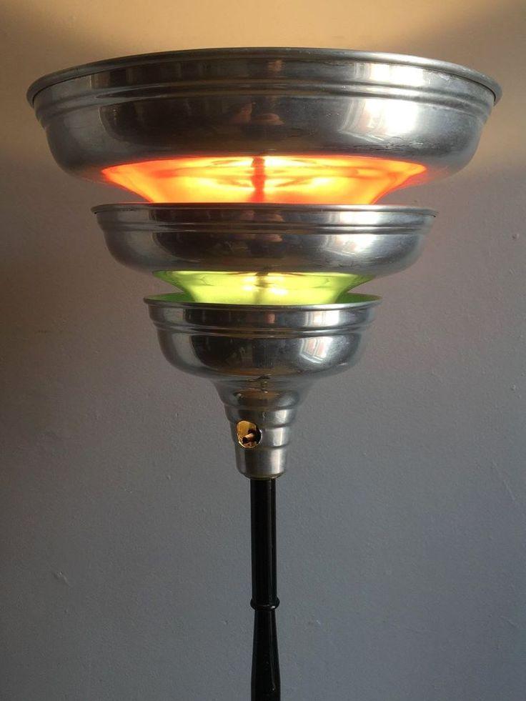 Vintage 1930s/40s ART DECO Machine AGE Chrome TORCHIERE Floor LAMP Rohde Era 1/2 #ArtDeco #Unknown