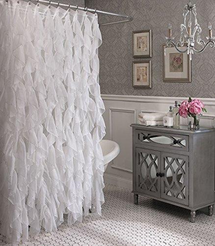Cascade Shabby Chic Ruffled Sheer Shower Curtain (White)