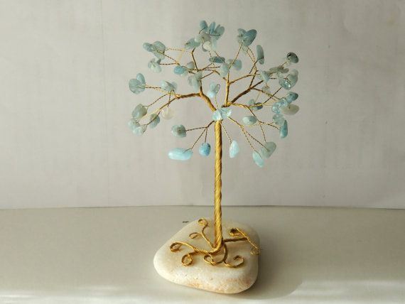 Mothers day gift, Aquamarine gemstone wire tree of life, Beaded tree, cake topper, wire sculpture,gemini art, March birthstone, gem tree