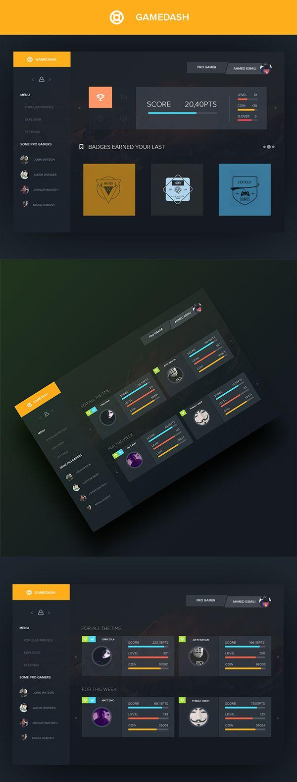 GAMEDASH UI on Behance