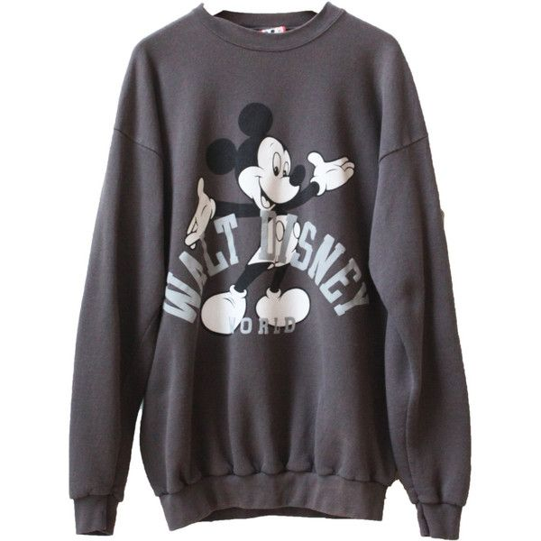Vintage Disney Mickey Mouse 90s Crewneck Sweatshirt Brand Disney... ($36) ❤ liked on Polyvore featuring tops, hoodies, sweatshirts, grey, vintage sweatshirt, gray top, disney, crew-neck sweatshirts and grey crew neck sweatshirt