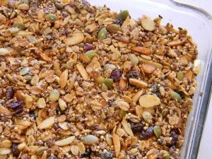 Possibly the healthiest granola recipe I've ever seen. I haven't made granola for years since it's so high calorie and I can't resist it, but this recipe might make me re-think that. Would make a great garnish over yogurt and sliced fruit.