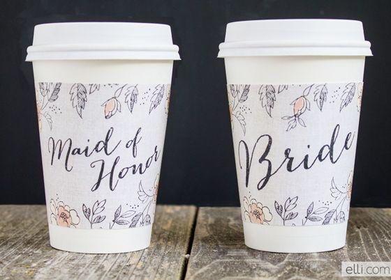 Free printable: Bride and Maid of Honor Coffee Cup Sleeve Wraps {Ellinee}
