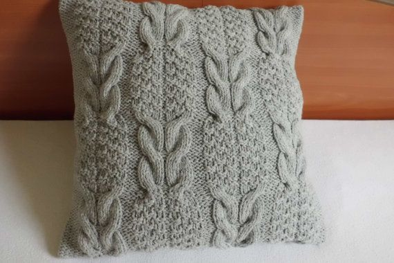 Hand Knit Pillow Cover Silver Gray, Summer Throw Pillow, Light Gray Cable Knit…