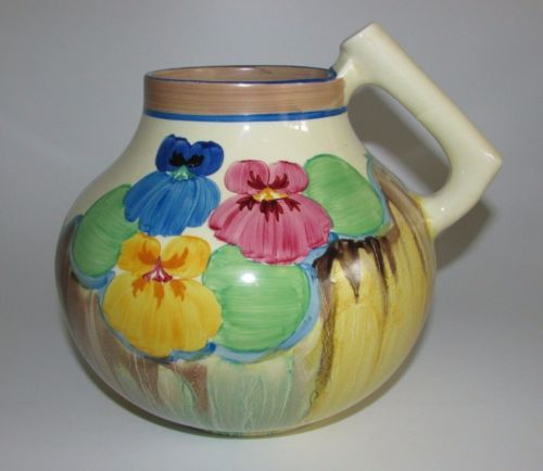 Clarice-Cliff-Art-Deco-039-Delicia-Pansies-039-Handled-Jug-Shape-634-c1933