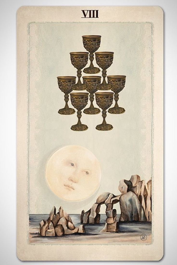 PAGAN OTHERWORLDS tarot deck of cards by UUSI.  Eight of Cups.
