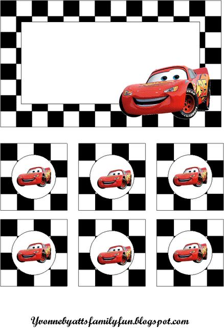 Cars Party Decoration - free printable for cars birthday party. Layered files that are editable.
