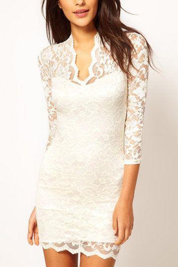 White V-neck Lace Details Mini Dress