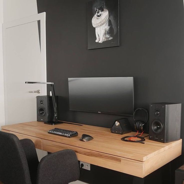 Black and wood ultrawide setup by @yetanothertechchannel #minimalsetups