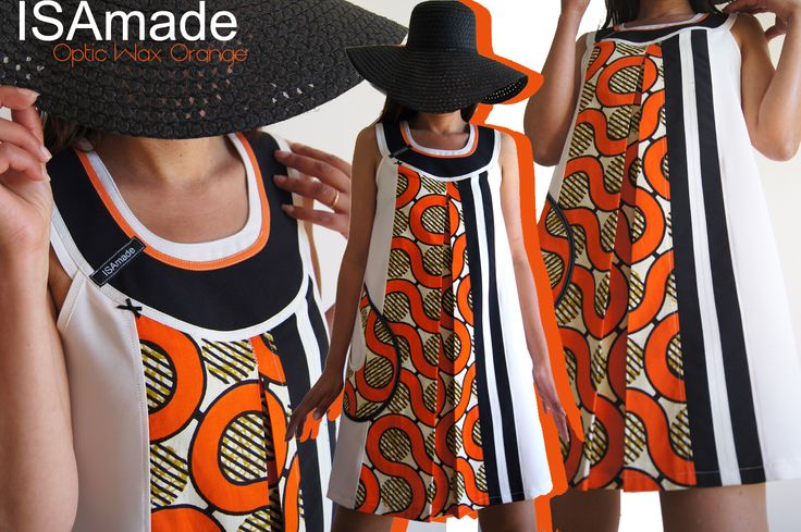 Robe trapèze Graphique Blanc écru imprimé wax africain avant gardiste design optique orange/ noir : Robe par isamade