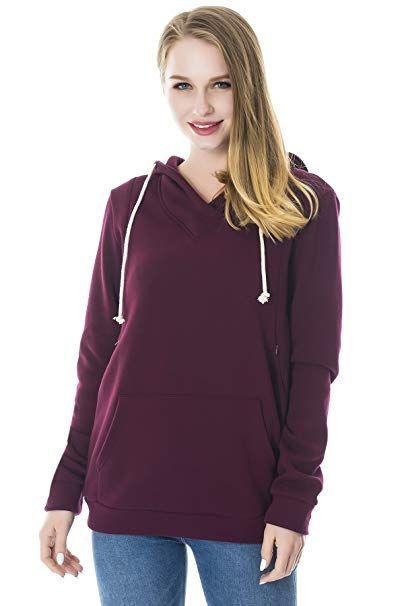 3768fed0a320d Smallshow Women's Fleece Maternity Nursing Sweatshirt Hoodie with Kangaroo  Pocket Burgundy Small