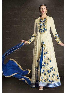 couleur crème georgette faux costume Anarkali, - 119,00 €, #Tenuepakistanaise #Robebollywood #Robesindiennes #Shopkund