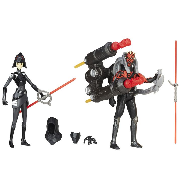 Star Wars Rebels Seventh Sister Inquisitor VS. Darth Maul Action Figures 3.75 Inches. Features 2 figures, 6 accessories, and 2 projectiles for awesome battle simulation. Grow your collection with these and other figures from the Star Wars Universe. Crafted to look like the real characters from Star Wars Rebels. Action figure size: 3.75 inches. Includes 2 figures, 6 accessories, 2 projectiles, and instructions.