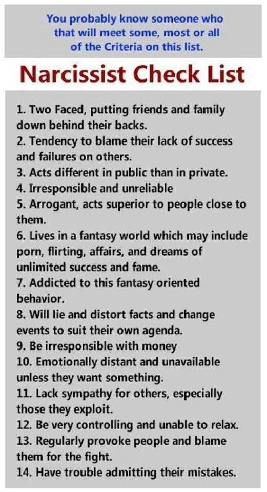 Narcissist Check List. -- Post relating to on-going tactics of Narcissists-- https://www.facebook.com/114835348601442/photos/a.114842675267376.27014.114835348601442/953207981430837/?type=3&theate