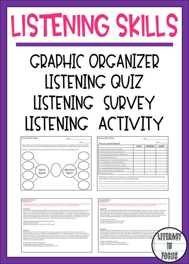 Everything you need to teach and assess listening skills including a graphic organizer, survey, activity, and assessment! After completing this unit, you will have a better idea of which students need additional help in building their listening skills. #listeningskills