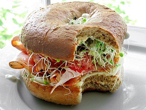 Turkey Bagel Sandwich | Ezra Pound Cake. So good with avocado, pepper jack and sprouts.