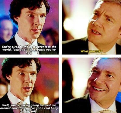 *SPOILER ALERT*  This was probably my favorite scene.  When Mary had made the comment about picking out a diagusting wine the thought that popped into my brain was she's pregnant, but I automatically dismissed it.  Then later when Sherlock started talking about her symptoms I was so happy that he was the one to figure it out.