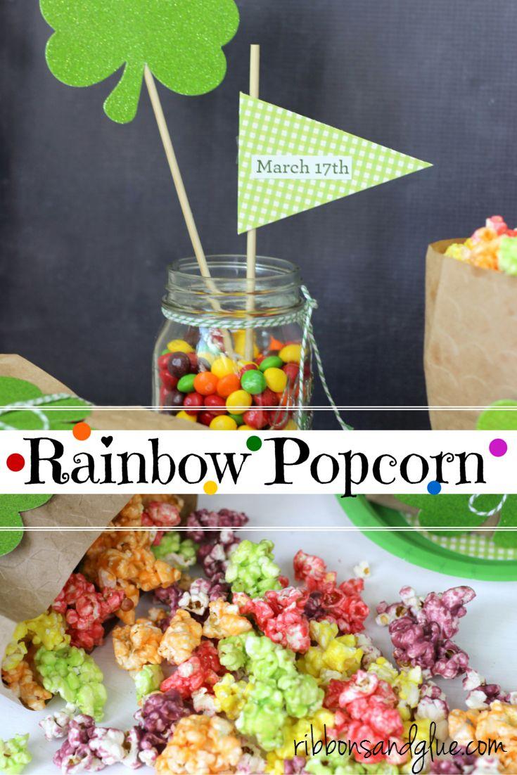 How to make St. Patrick's Day Rainbow Popcorn. Easy recipe to Taste the Rainbow!