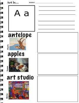 Learn ABC's by Hand Writing with Visual Art Examples (K-3. ESL) 26 pages You will download a ZIP file with 26 JPG pages. If you need a different format, please convo me or convert files at zamzar.com Each page is basically laid out the same. The ABC letters are in a box with space underneath for