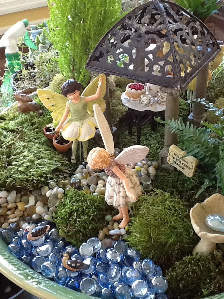 Fairy tea party fairies and other real things pinterest Small garden fairies