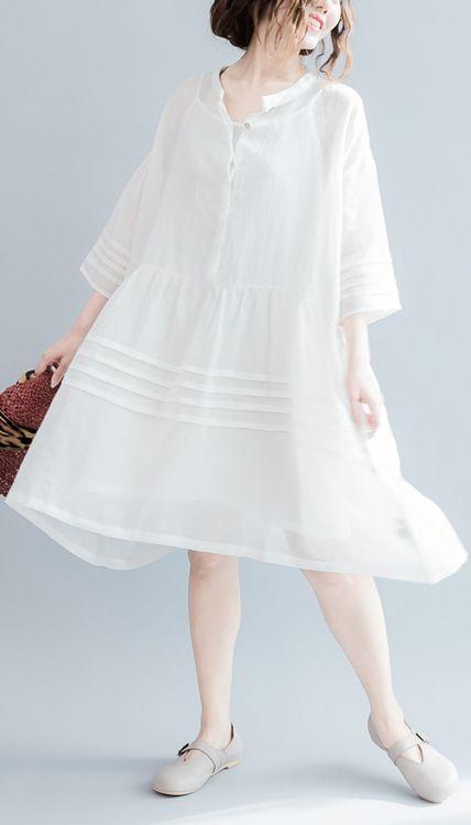 2017 summer linen dresses flowy casual fine linen sundress white linen dresses plus size