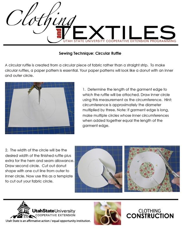 Printable tutorial for the sewing technique circular ruffle