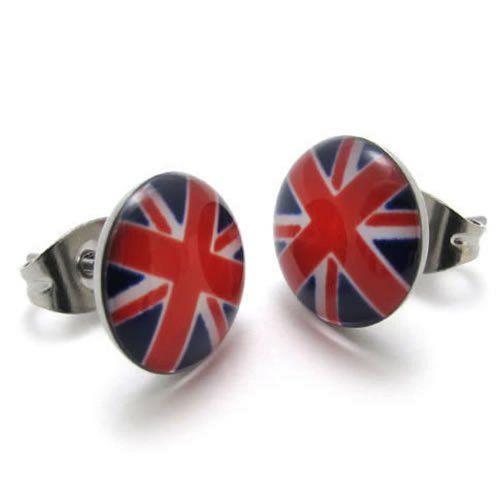 KONOV ジュエリー ファッション アクセサリー 2個 メンズ レディース ピアス, イヤリング, スタッドピアス, ボディピアス, イギリスの旗 柄, おもしろ, ステンレス, カラー:[ギフトバッグを提供]