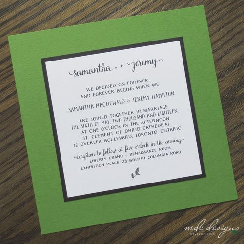 Bright Green Eco Friendly Invite With Small Leaf Image · Green Wedding  InvitationsLeaf ...