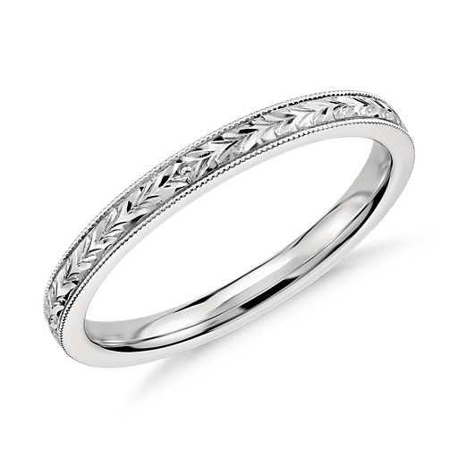 Hand Engraved Wedding Ring in 14k White Gold, $300