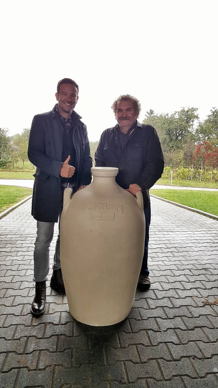 """The launch of the Evolution project: amphoras in the Birtok. The producer Attila Légli and our CEO Florian Zaruba with the first piece: """"Yes, we will make wine like our Roman precessedors at Balaton or Pelso as they named it did. We look forward what the exciting mix of the ancient winemaking method and our modern estate can bring to our customers. For more details follow the #kristinusevolution !"""""""