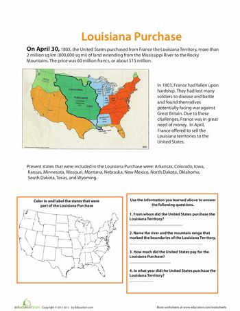 Worksheets: The Louisiana Purchase
