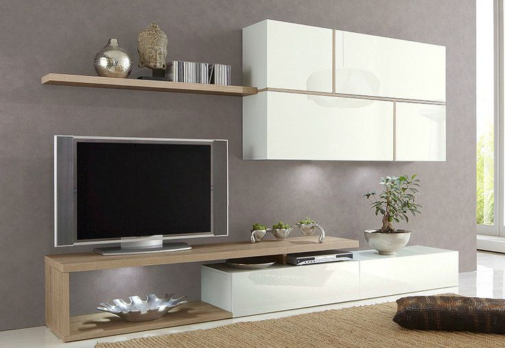 Ensemble meuble TV blanc laqué et chêne clair contemporain MILAN