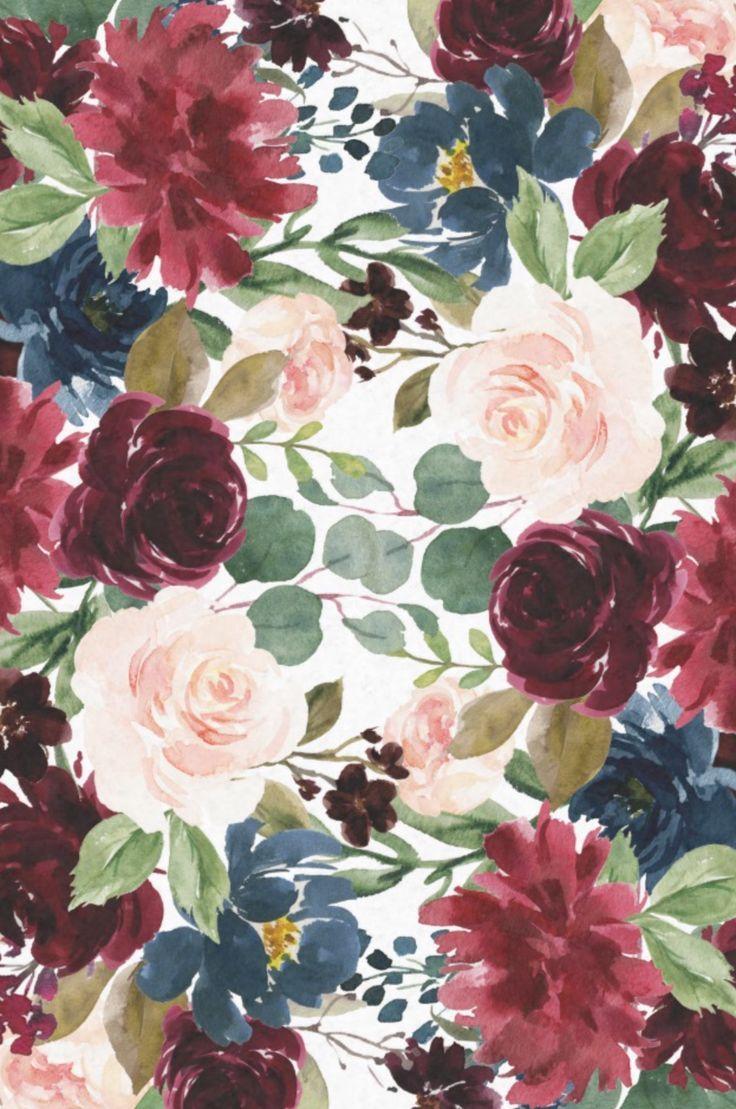 Burgundy Blue Watercolor Flowers Border Tissue Paper Zazzle Com