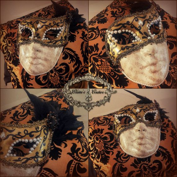Golden and black Venetian mask covered with vintage looking music paper. Totally hand-painted. The mask is beautifully decorated with golden