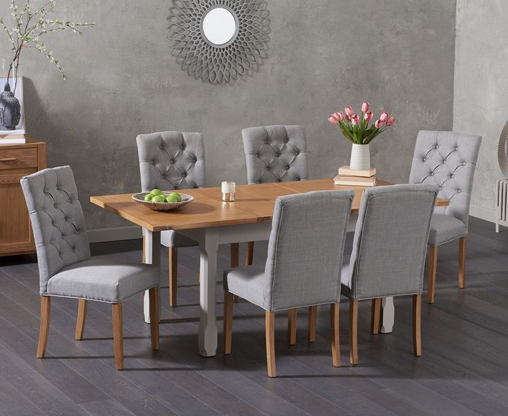 Somerset 130cm Oak and Grey Extending Dining Table with Claudia Grey Fabric Chairs