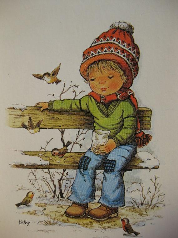 feeding the birds in wintertime