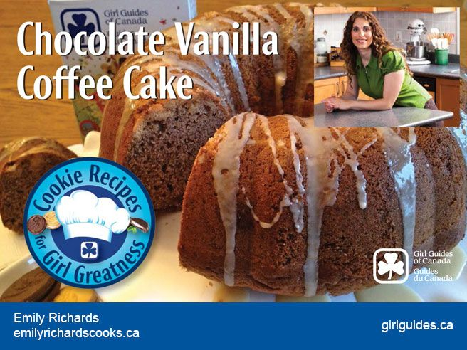 """Yes! You can have your Girl Guide Choc Vanilla Coffee cake – and eat it too! Home economist and cookbook author Emily Richards can show you how! Check out her recipe and those from the other 5 Canadian chefs and bakers who created mouth-watering desserts for our """"Cookie Recipes for Girl Greatness""""! #Girl_Guides #Canada #recipes #cakes #GGC"""
