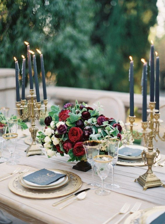 Autumn Wedding Centerpiece- navy, black, red and gold / http://www.deerpearlflowers.com/burgundy-and-navy-wedding-color-ideas/2/